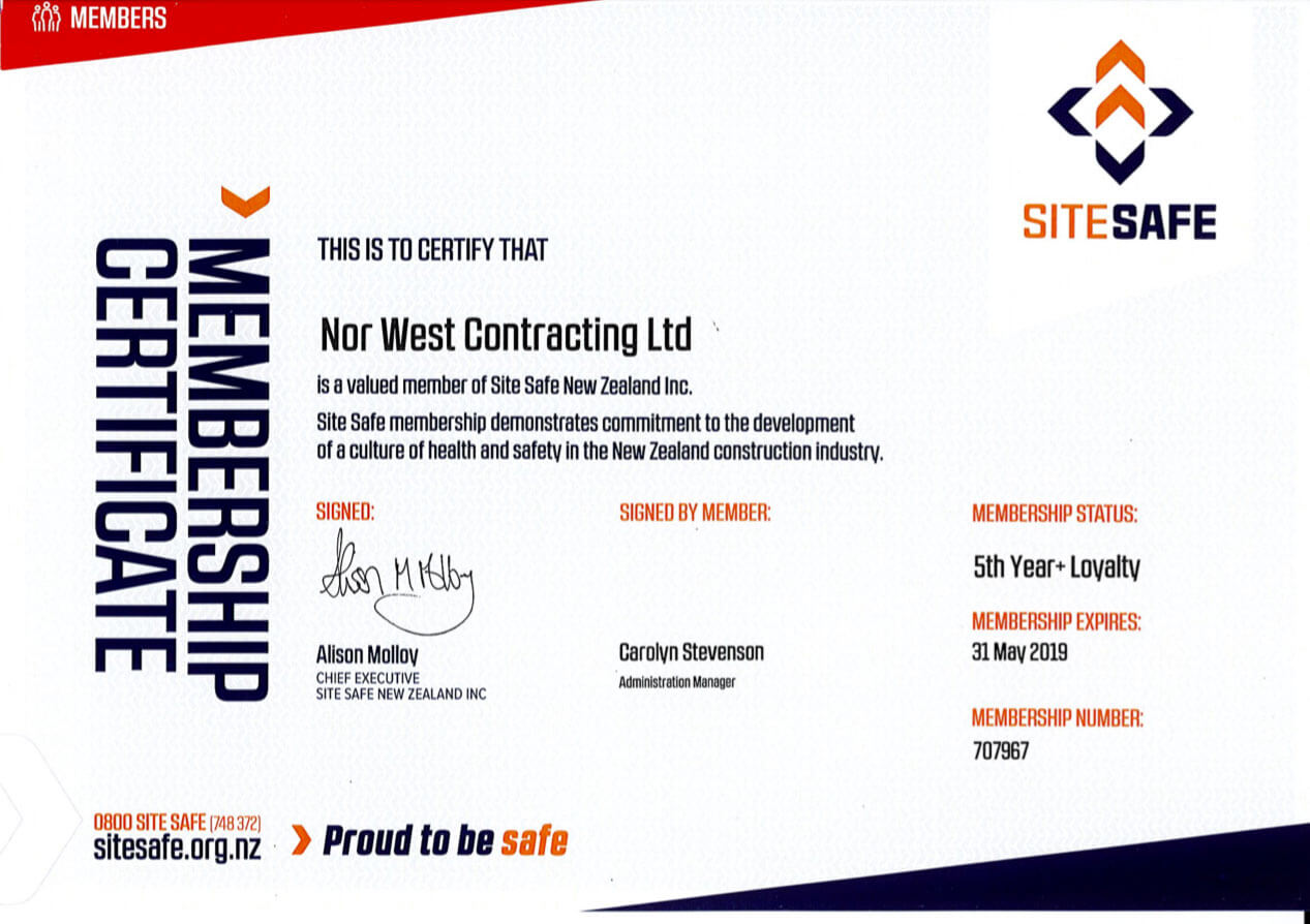 Nor West Contracting Site Safe Certificate
