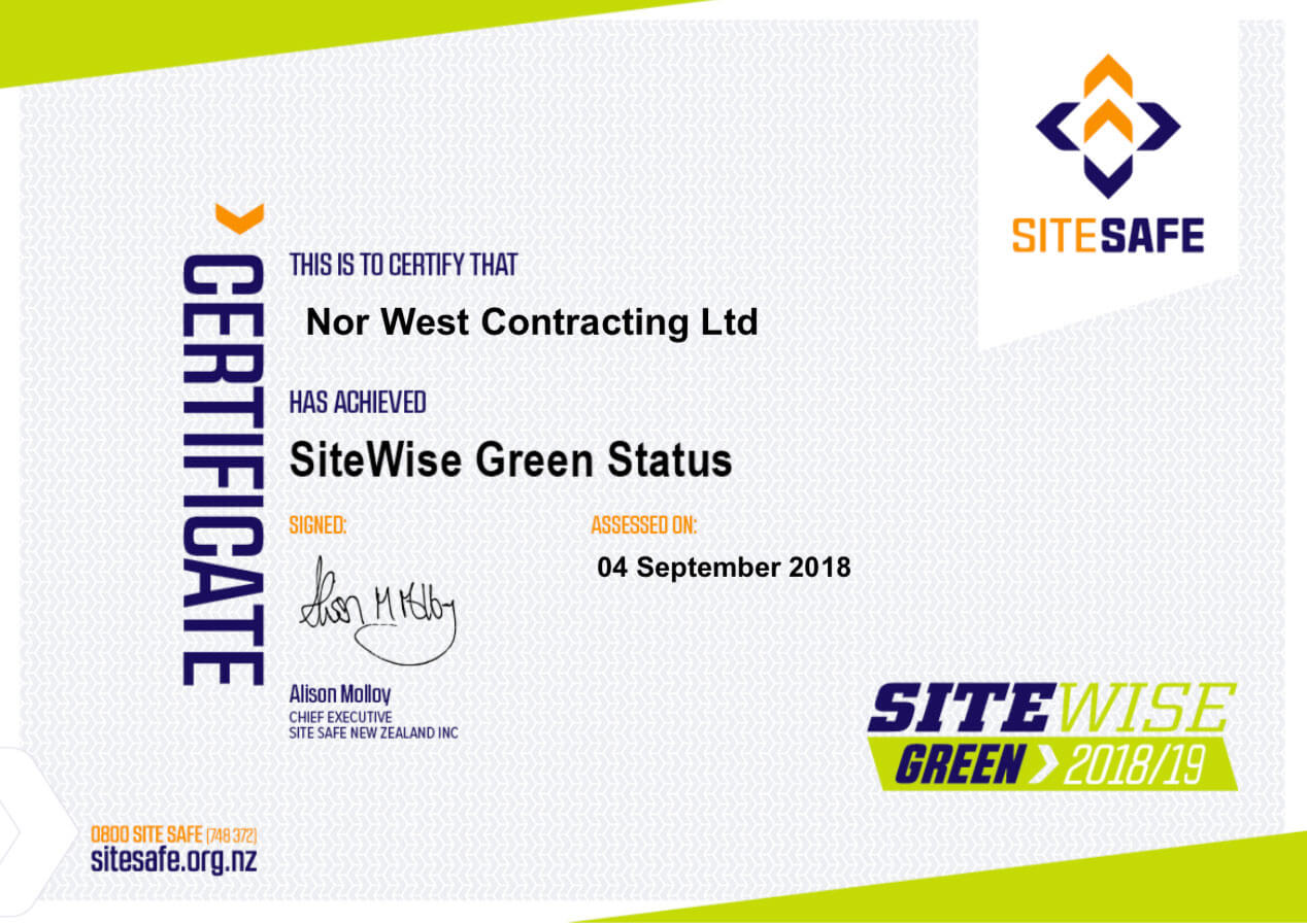 Nor West Contracting Site Wise Certificate